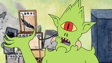A pointy-headed green cyclops demon is talking.