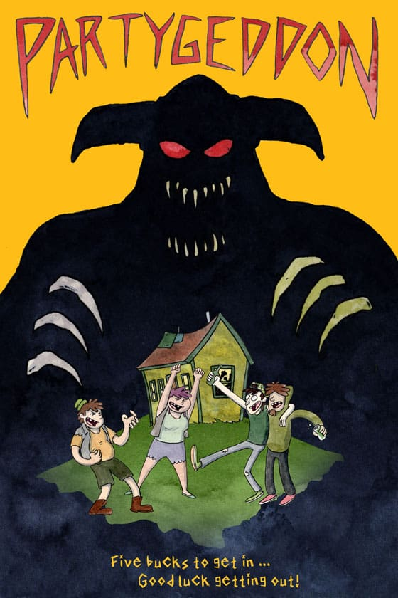 The silhouette of a horned demon looms over four friends partying out in front of their house.