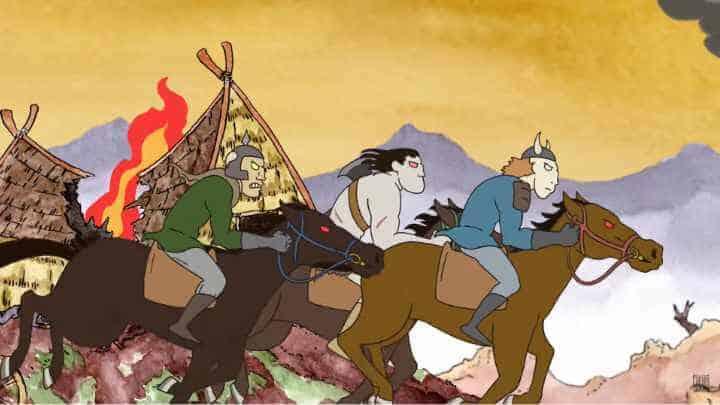 Three warriors on horseback ride through the wasteland