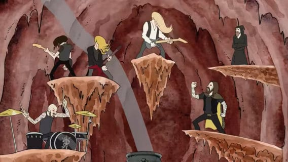 Cartoon Hjelvik performing in the Underworld