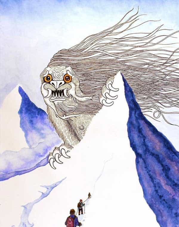 A tusked, dog-faced colossus with long hair blowing in the mountain wind, peaks out from behind a peak,