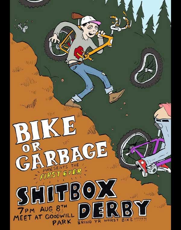 Bike or Garbage flyer. Some dude is carrying a busted bike down a hill, and the dude is impaled and bleeding from the stomach.