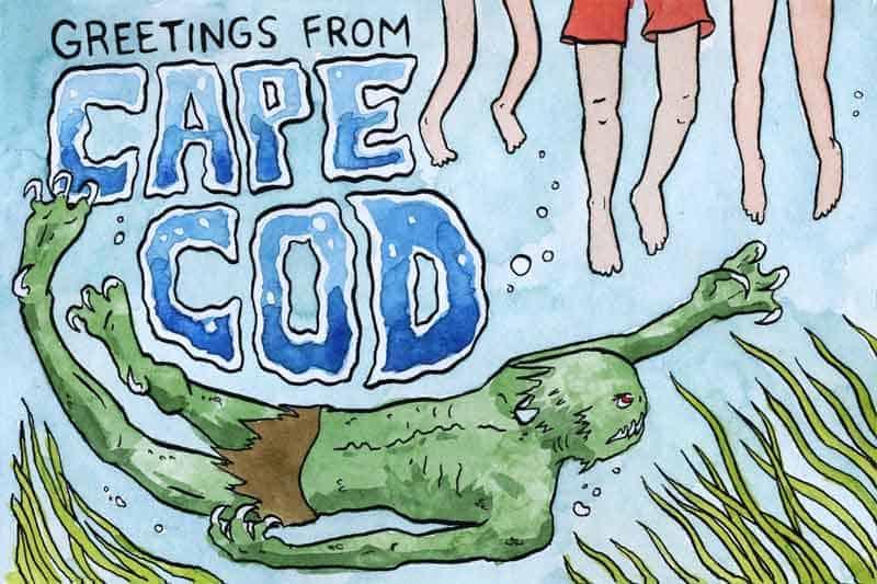 A green, loin-cloth wearing seaman-creature swims below treading legs.
