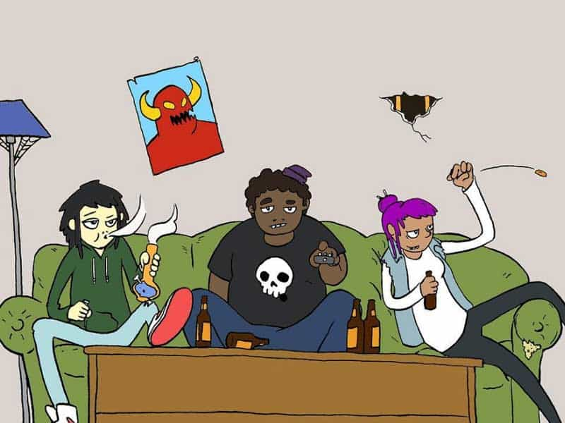 The Rat Bashers chill out on a couch, watching tv, smoking a bong, and drinking beers.