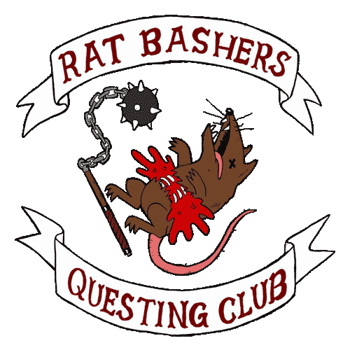 Rat Bashers Questing Club Logo. A swinging mace and a bloody rat with its ribs exposed.