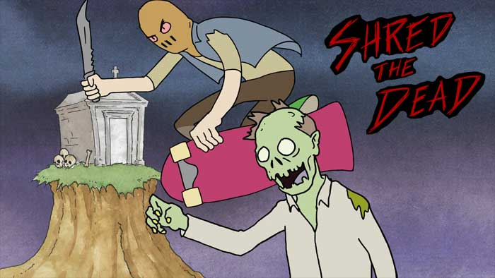 A sack-faced skateboarder is about to grind a zombie's head