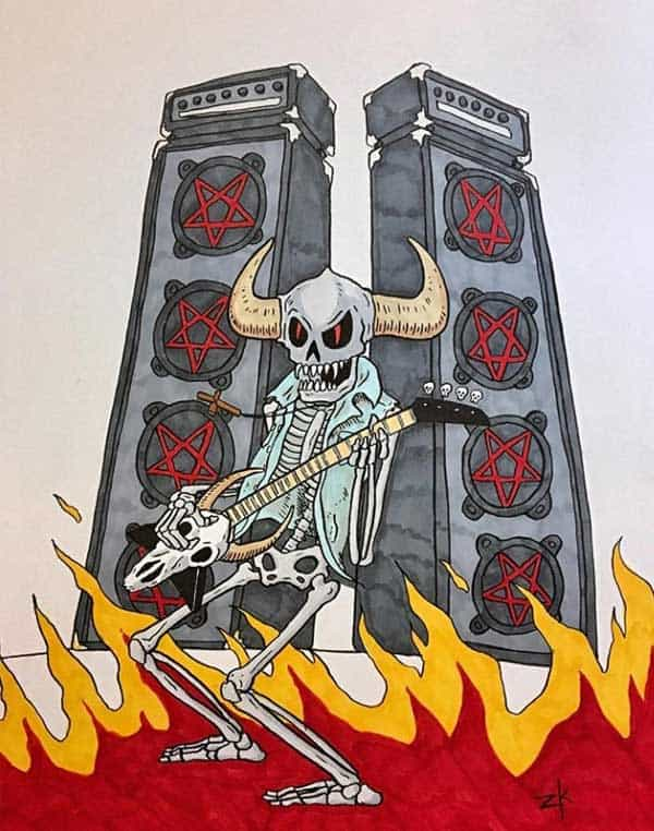A horned skeleton demon with a bitchin denim vest, wails on a goat-head guitar amongst the flames of hell!