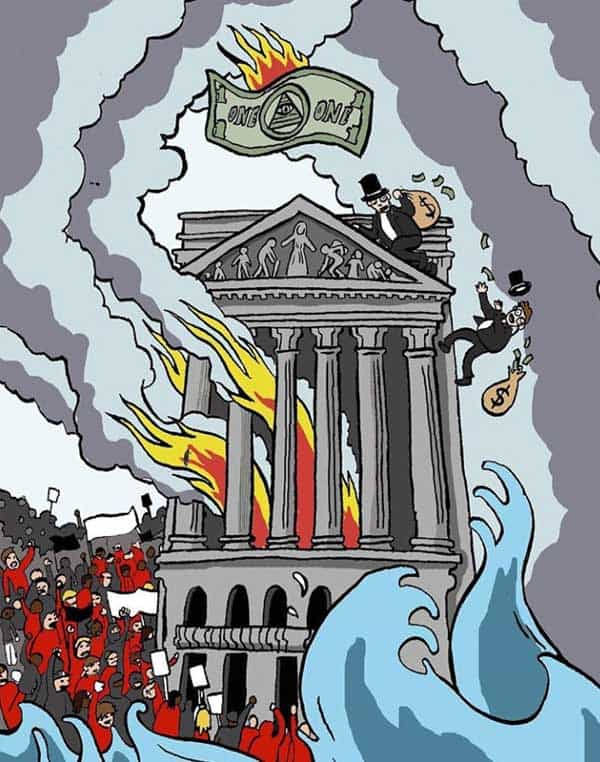 A burning monument is surrounded by protesters and chaos while two fat cat uncle money bags' are climbing to the top.