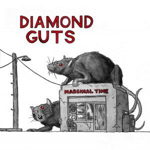 Diamond Guts album cover. A run-down shack with two giant, shack-sized rats around it.