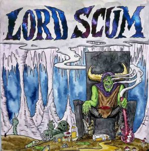 Lord Scum sits upon cracked throne, bong in hand. Smoke billows from his green demon face and encircles his large horns, filling the catacombs above.