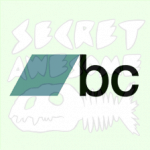 Bandcamp icon super-imposed atop a skeleton-fish Secret Awesome logo.