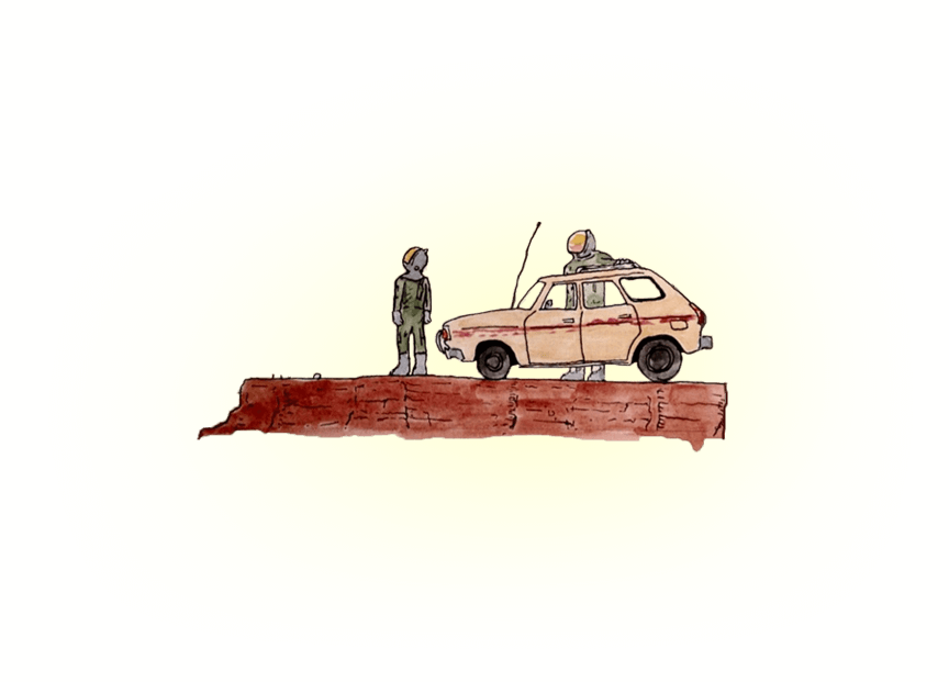 Two astronauts stand on a desert plateau outside of an old hatchback.